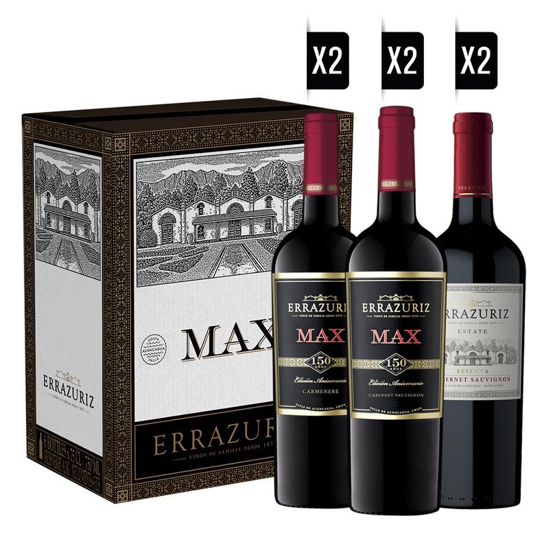 Pack Errazuriz (2 MAX CS) (2 MAX CM) (2 ESTATE CS) + 2 COPAS DE REGALO